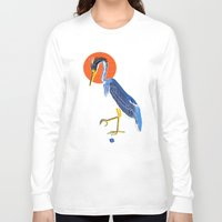 crane Long Sleeve T-shirts featuring Japanese Crane by Christian G. Marra