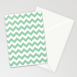Mint Green Chevron Print Stationery Cards