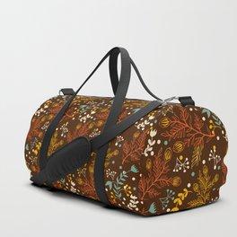 Elegant fall orange yellow teal brown floral polka dots Duffle Bag