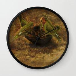 Lovebirds Oil Painting Wall Clock