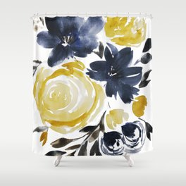Navy and Yellow Loose Watercolor Floral Bouquet Shower Curtain
