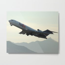 Fed Ex 727-200 Takeoff Sunset Metal Print