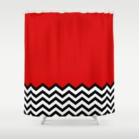 lynch Shower Curtains featuring Black Lodge Dreams (Twin Peaks) by Welcome to Twin Peaks