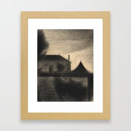 Georges Seurat - Houses at Dusk - Rare Retro Vintage Drawing Framed Art Print