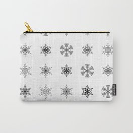 Snowflake Pattern - Black and white winter snowflake pattern artwork Carry-All Pouch