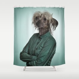 Chinese hairless crested dog Shower Curtain