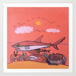 Galopagos Shark & Friends Art Print