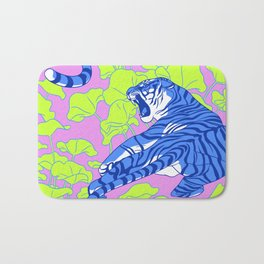 Neon Tigers and Water Lillies. Bath Mat