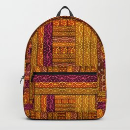 """Orange vintage textile patches"" Backpack"