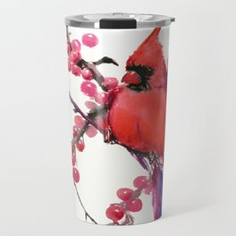Red Cardinal and Berries, Christmas Red design Christmas Decor Gift Travel Mug