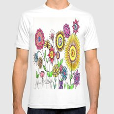 Bright Flowers White MEDIUM Mens Fitted Tee