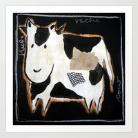 cow Art Prints featuring cow by woman