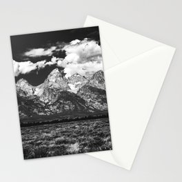 Mountain Summer Escape - Black and White Tetons Stationery Cards