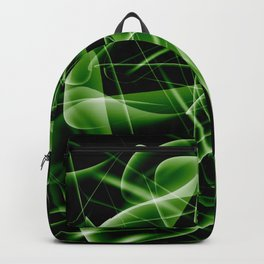 Dark web of green cosmic lines of energy and a mystical smoke screen on a black background. Backpack