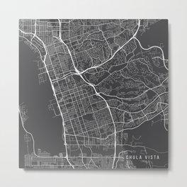Chula Vista Map, USA - Gray Metal Print