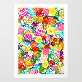 Neon Summer Floral // Small print Art Print