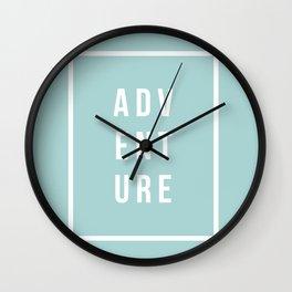 ADVENTURE in Robin Egg Blue Wall Clock