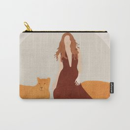 Woman with Cheetahs Carry-All Pouch