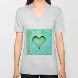 Blue Peeling Paint Wood Heart Unisex V-Neck