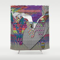 internet Shower Curtains featuring drippy internet by oops