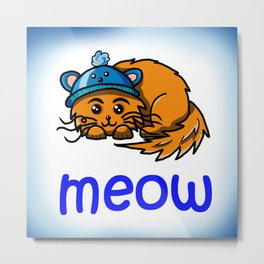 Cute cartoon ginger cat meow Metal Print