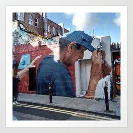 Man with blue cap. Art Print