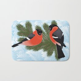 Bullfinch birds on fir tree branches Bath Mat