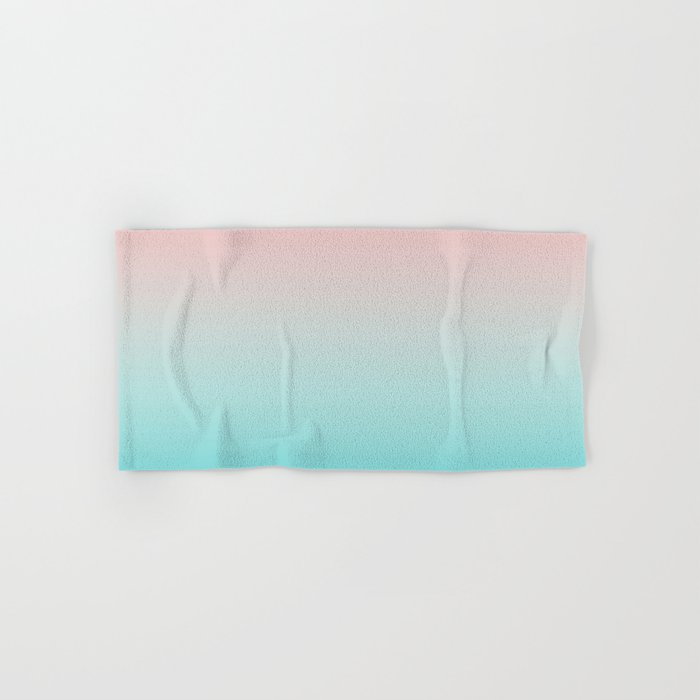 Pastel Ombre Millennial Pink Blue Teal Gradient Pattern Hand & Bath Towel