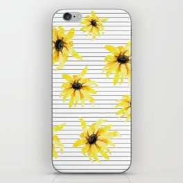 Bright Yellow Daisies on Stripes iPhone Skin