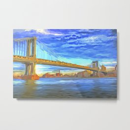 Manhattan Bridge Pop Art Metal Print