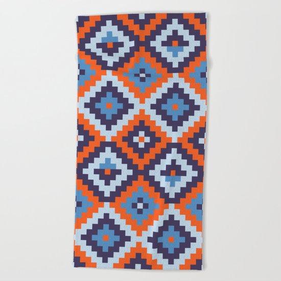 Aztec pattern - orange, blue Beach Towel