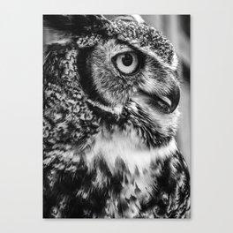 Bird Photography | Owl Black and White Minimalism | Wildlife | By Magda Opoka Canvas Print