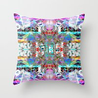 rave Throw Pillows featuring RATE RAVE by Riot Clothing