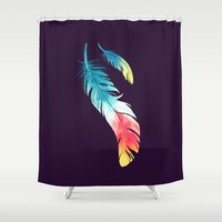 feather Shower Curtains featuring Feather by Freeminds