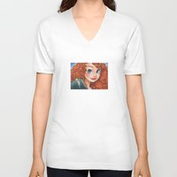 merida V-neck T-shirts featuring Merida by Genevieve Kay