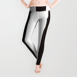 Licorice black - solid color - white vertical lines pattern Leggings