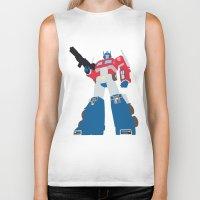 optimus prime Biker Tanks featuring Transformers G1 - Optimus Prime by TracingHorses