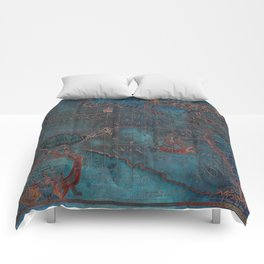 Antique Map Teal Blue and Copper Comforters