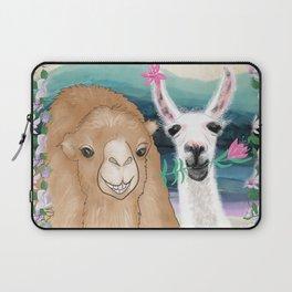 Llama bride and camel groom wedding photo art Laptop Sleeve