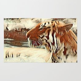 Warm colored Animal swimming tiger Rug