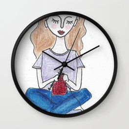 Knitting in color Wall Clock