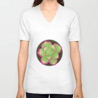 succulent V-neck T-shirts featuring Succulent by j-bott