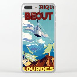 Lourdes - Vintage French Travel Poster Clear iPhone Case
