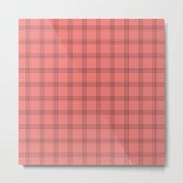 Black Grid on Pale Red Metal Print
