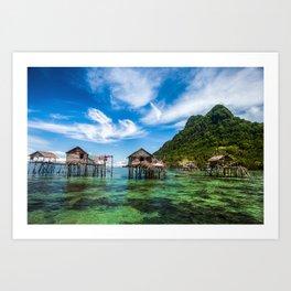 Bajau Laut Stilt Village Art Print