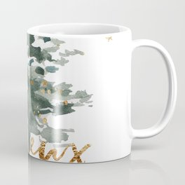 Christmas Tree Watercolors Noel Gold Typography Coffee Mug