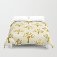 gold foil Duvet Covers featuring Cream Gold Foil 02 by Aloke Design