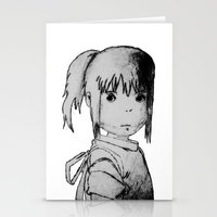 chihiro Stationery Cards featuring Remember Your Name (Chihiro) - Sketch by ScoDeluxe