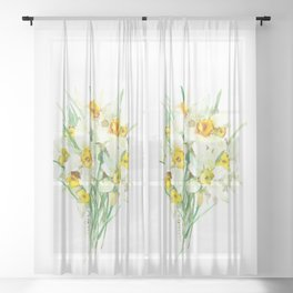 Daffodil Flowers, White spring flowers, Green yellow spring colored design Sheer Curtain