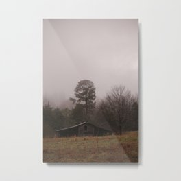 Foggy Day at the Old Barn Metal Print